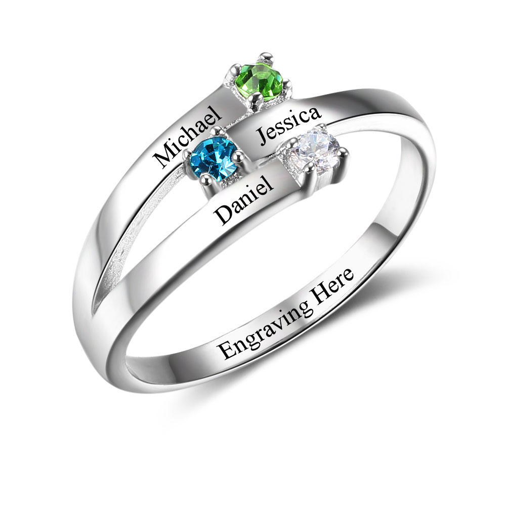 925 Sterling Silver Rings Birthstone Rings For Family Personalized Jewelry Custom Rings Trendy Charms Jewelry Gift(RI102505) promise rings engagement rings personalized jewelry 925 sterling sliver heart birthstone rings custom gift for women