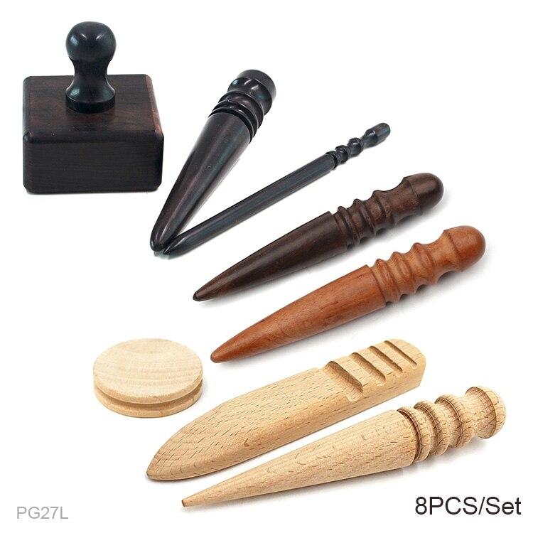 Wood Leathercraft Round Wood Edge Slicker Burnisher for DIY Leather Working