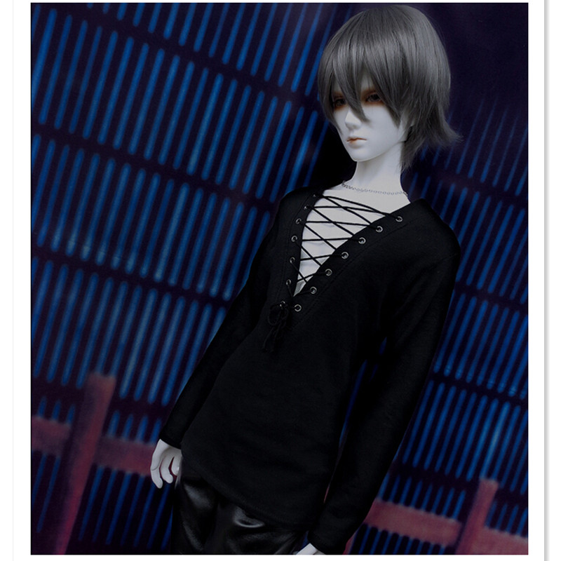 1/3 1/4 BJD Doll Clothes Sexy Low V Chest Long Sleeve Shirt Clothing for Dolls,Black Tops Toy Clothing Fashion Dolls Accessories