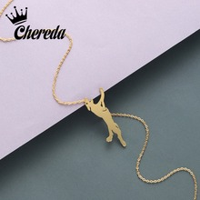 Chereda Cute Dog Shape Stainless Steel Chain Necklace for Women Cartoon Animal Pendant Wedding Jewelry Present