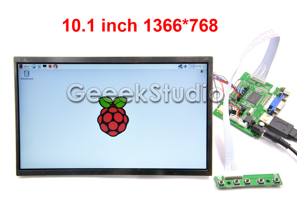 10.1 inch 1366*768 <font><b>LCD</b></font> Screen Display <font><b>TFT</b></font> Monitor for Raspberry Pi <font><b>3</b></font> / <font><b>2</b></font> Model B image