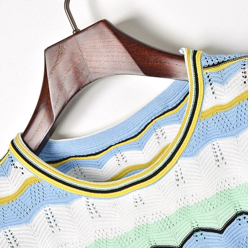 Euro Droite Contraste Tricoté Shorts Courtes Style Manches Des Image Ensembles Nouveau Mode Femmes Couleur Col Casual Rond Tops Évider Color xr6rE1w7Cq