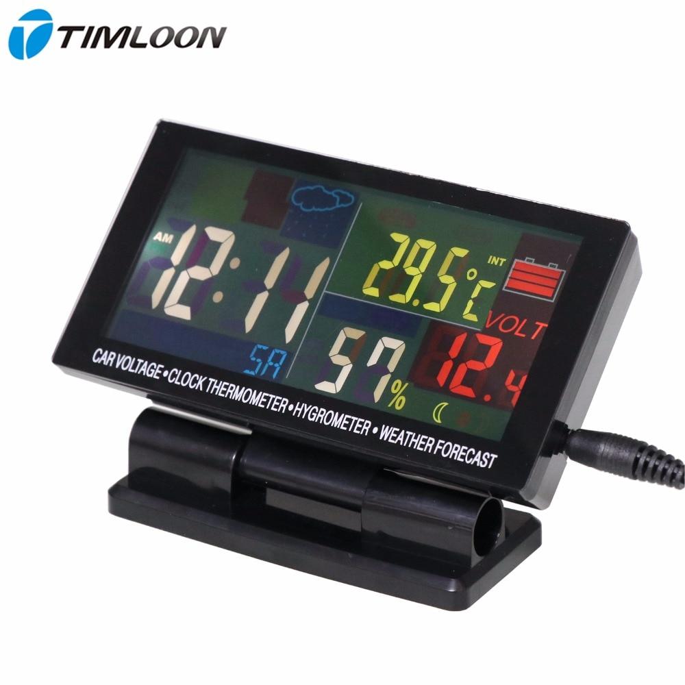 12V-24V automašīnas spriegums, pulksteņa termometrs, higrometrs, laika prognozes ikmēneša kalendārs ar krāsu displeja lielo ekrānu