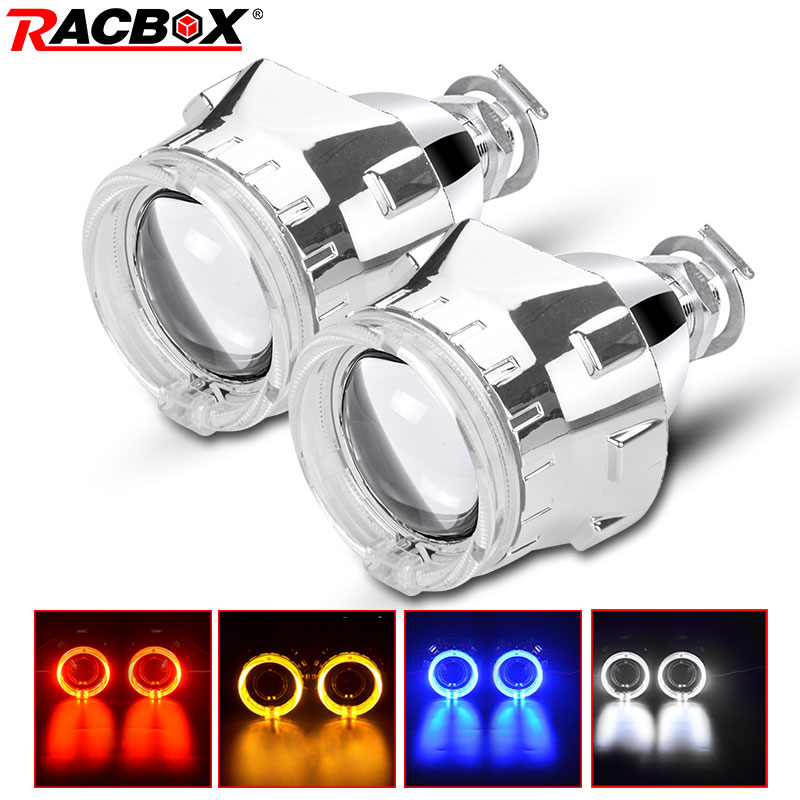 RACBOX 2Pcs Silve Shroud 2.5 inch Universal Bi Xenon HID Projector lens with White Red Blue Yellow Angel eyes Ring For H4 H7 CarRACBOX 2Pcs Silve Shroud 2.5 inch Universal Bi Xenon HID Projector lens with White Red Blue Yellow Angel eyes Ring For H4 H7 Car