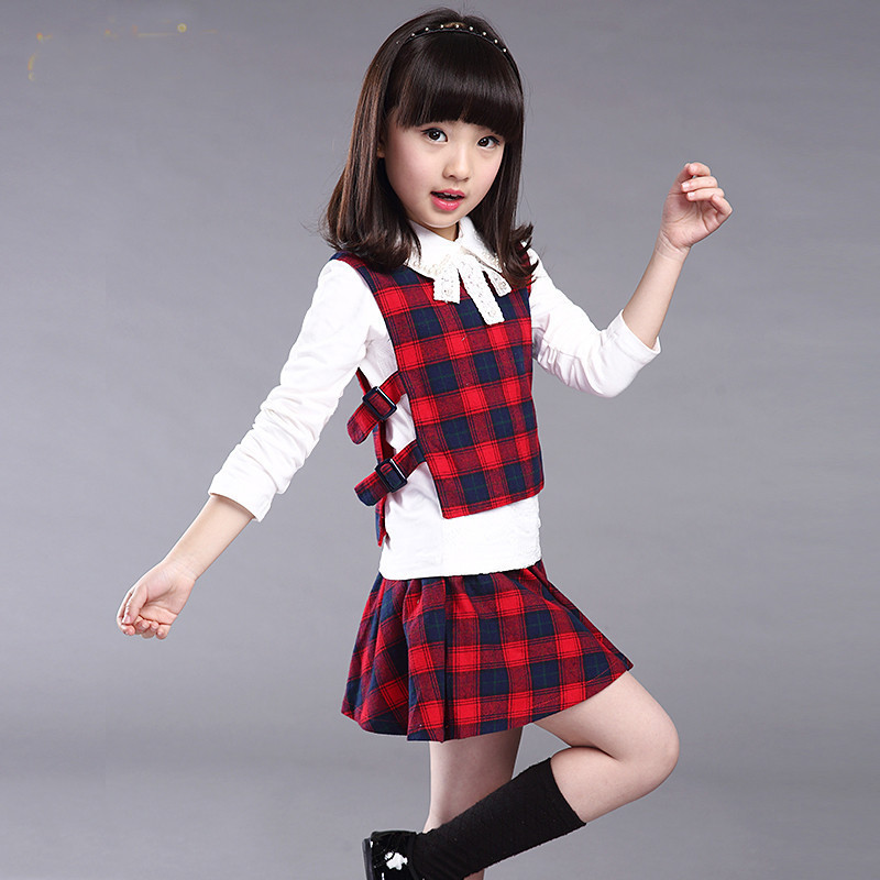 girls clothing sets t-shirt vest and skirt 2016 preppy style plaid suit clothes red green white fashion new