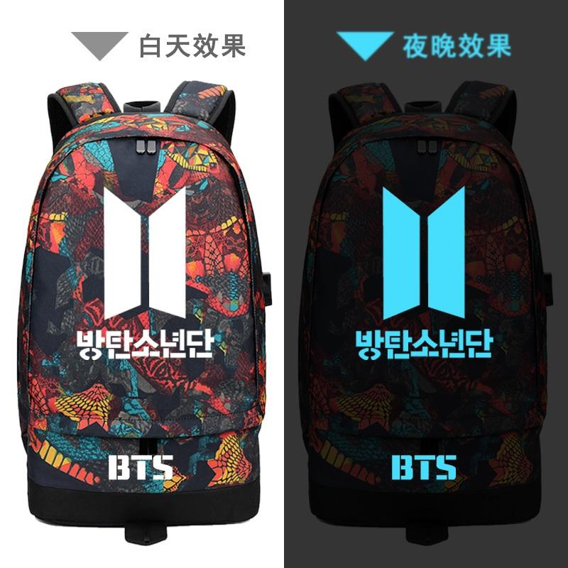 2018 Bangtan Boys BTS Hip Pop Printing Backpack USB Charging Laptop Backpack Canvas School Bags BTS Women Backpack Travel Bags сумка asics 134934 1087 bts backpack