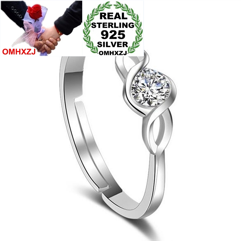 OMHXZJ Wholesale Jewelry Fashion Simple OL Intertwined Love Zircon Gift 925 Sterling Silver For Woman Girl Open Adjust Ring RG38