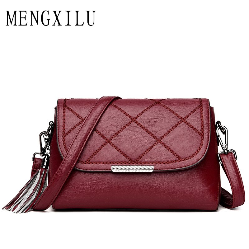 MENGXILU Fashion Messenger Bag Women PU Leather Bag Small Flaps Lady Crossbody Bag Knitting Diamond Lattice Female Shoulder Bag hmily genuine leather crossbody bag female diamond lattice messenger bag luxury socialite daily bag chaibs style women bag