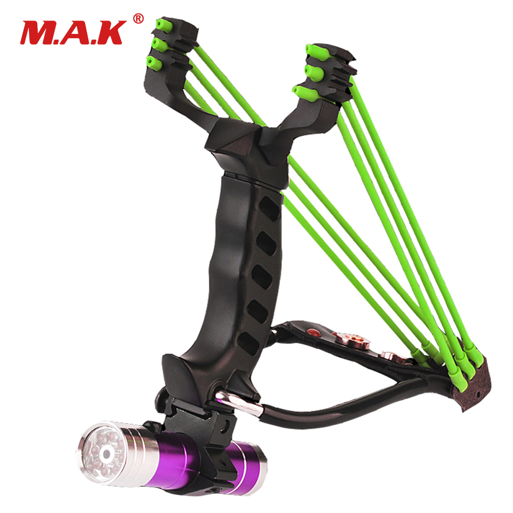 Fish Slingshot with Flashlight and Two Rubber Band Stainless Steel Outdoor Sports Slingshot for Hunting Fish