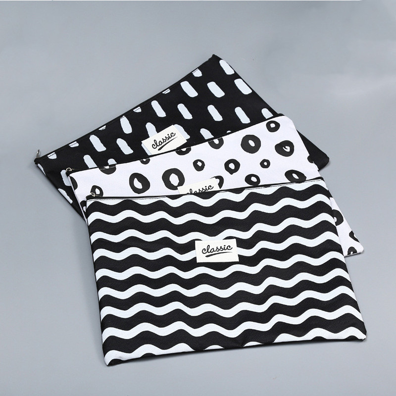 1pc New Korean Black And White Canvas Oxford Document Bag Pen Bag Business Briefcase File Folder For Papers Student Stationery