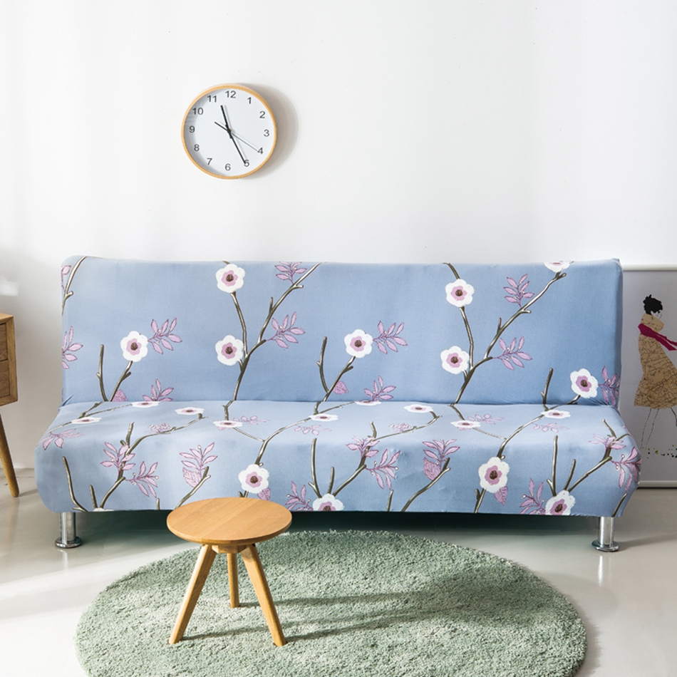 Light Blue Flowers Armless Couch Sofa Covers For Living
