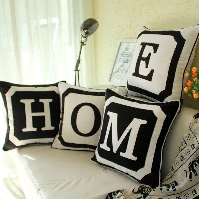 4 Pcs Set 18 Rumah Micro Suede Hitam Putih Sarung Bantal Sofa