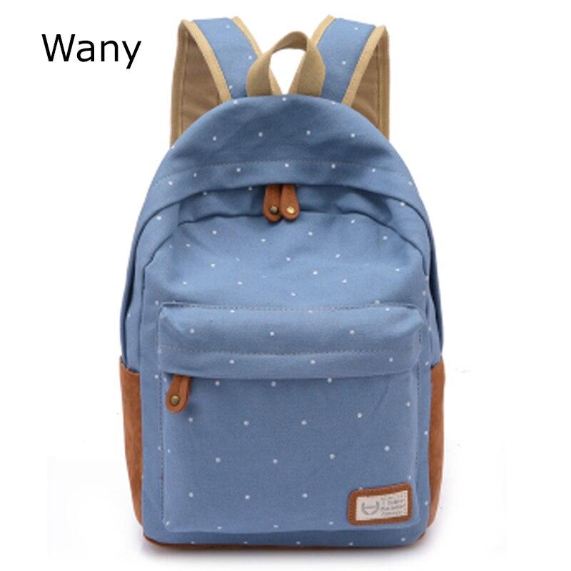 208eb4c039c74 جديد عارضة قماش ظهره النساء أزياء حقائب مدرسية للبنات دوت الطباعة حقيبة  الكتف mochila الشحن المجاني