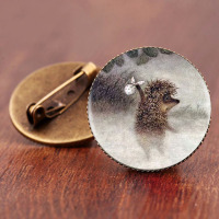 SUTEYI Vintage Hedgehog Brooch Cute Animal Pins Fashion Jewelry Brooches Antique Bronze Plated Collar Pin For Women Gift