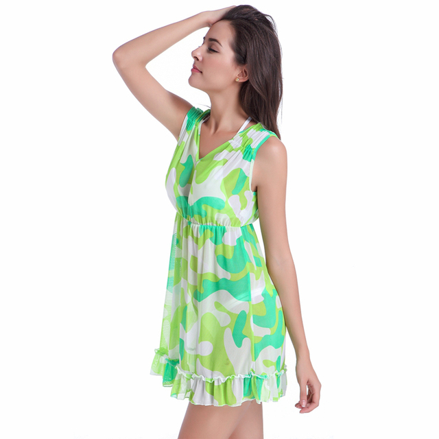Feminine Puckering – shoulder Ruffles – Hem Beachwear V neck Camouflage Transparent Stretch Mesh Women's Beach dress Cover ups