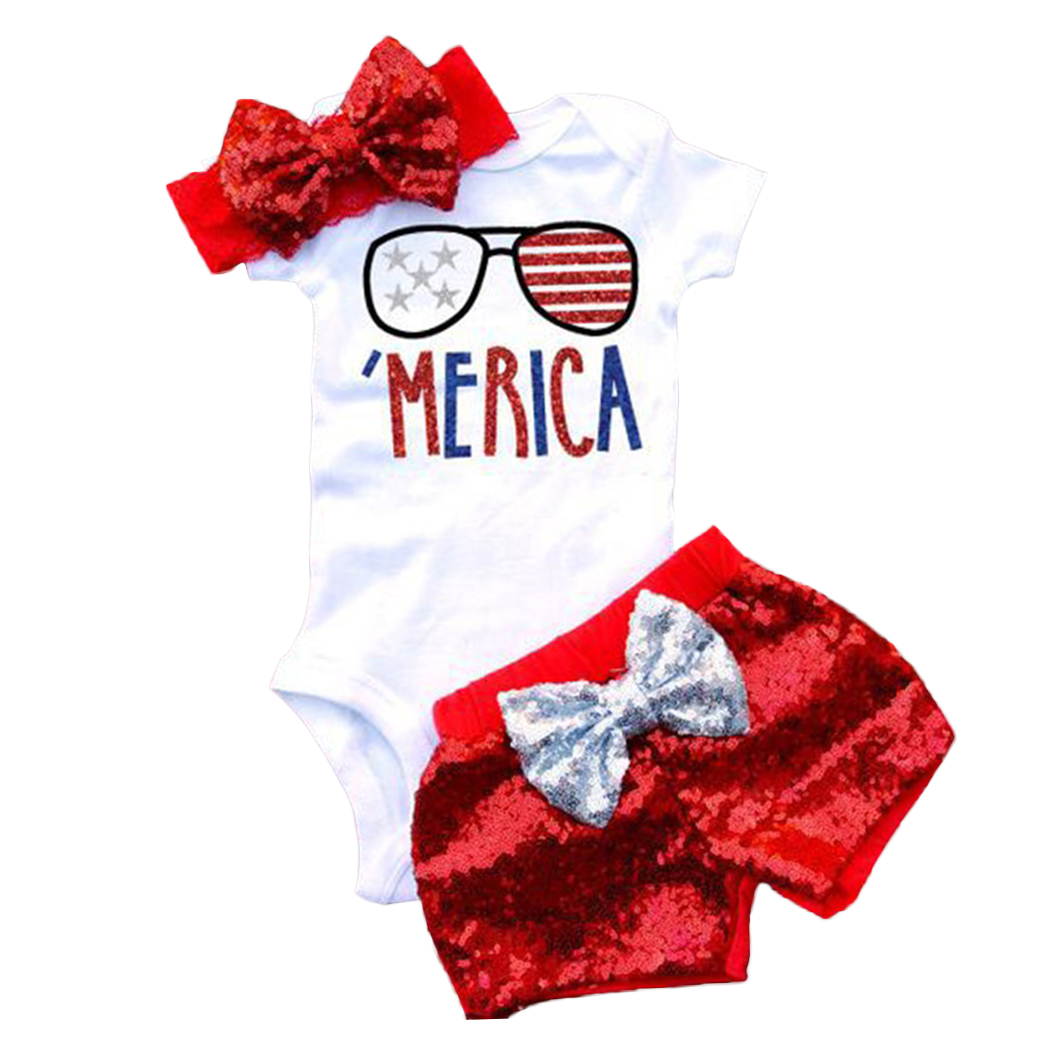 3PCS Baby Girls Clothing Sets Summer Cool Sunglasses Printed Letters T-shirts+Sequins Pants + Headband Clothes Suits Outfits