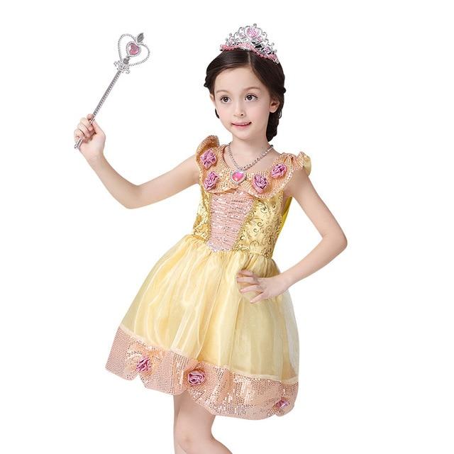 49e0ff63ca75fa Meisjes Prinses Belle Cosplay Jurk Kinderen Prestaties Kostuums Kerst Jurk  voor kinderen Mooie Gold Pailletten Party