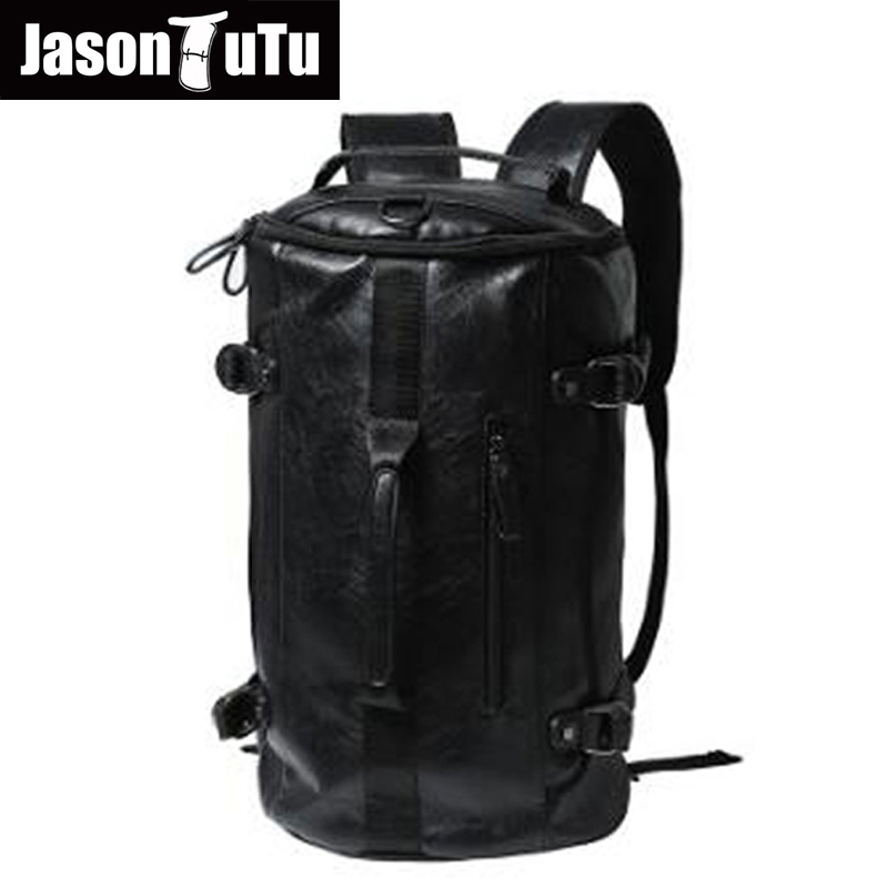 Large Capacity Travel backpack high quality Pu Leather Drum Backpack Men Multifunction Bags Bucket Shoulder Bag Black B56 mco large capacity men restore 3d cool lion backpack gothic embossing bag leather shoulder bag with hood cap travel backpack