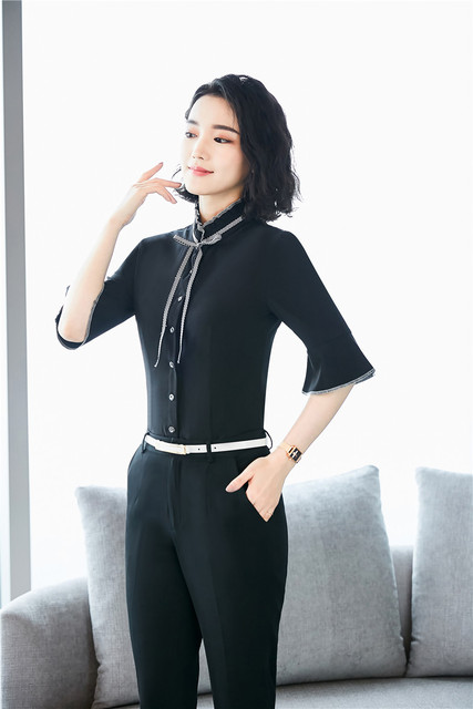 8dd16a15e3f Plus Size Uniform Designs Women Work Wear Suits With 2 Piece Tops And Pants  For Women Business Blouses & Shirts Pants Suits