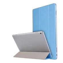 Ultra Delgado de Seda 3-Folder Transparente Cubierta Del Soporte de LA PU de Cuero Bolsa de La Piel caso Para Huawei MediaPad Lite 10 BAH-W09 BAH-AL00 M3 10.1″
