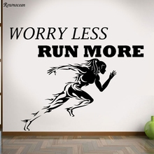 Wall Decal Quotes Worry Less Run More Sport Art Decals Gym Decor Sticker Z118