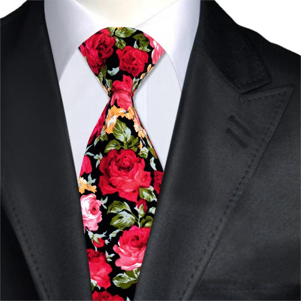 Mens New Fashion Necktie Floral Printed Bow Ties Cotton Flower Rose Skinny Ties