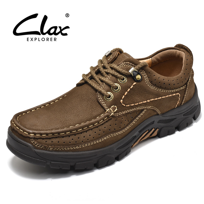 CLAX Mens Shoes Genuine Leather 2019 Spring Autumn Casual Shoe Male Outdoor Walking Footwear Handmade Leather Shoe Soft