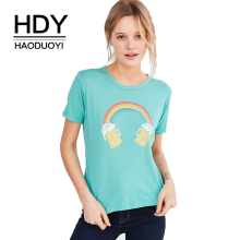 купить HDY Haoduoyi Brand 2019 Women Light Green Casual Sweet T-Shirts Rainbow Print Short Sleeve T-Shirt Female O-Neck Tops Lady дешево