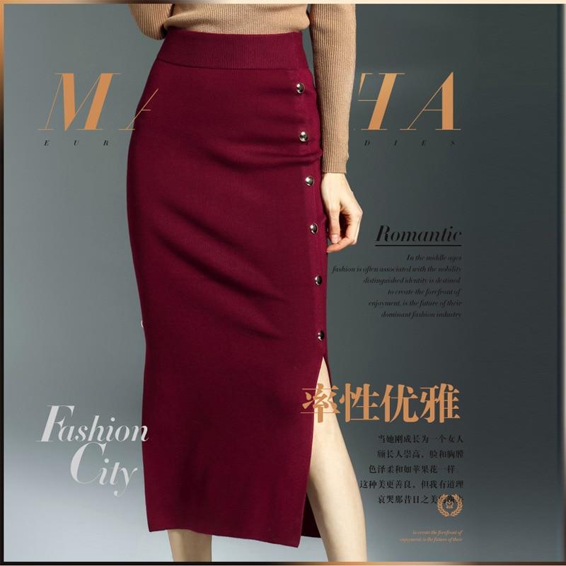 Mujeres Button Gtgyff Falda Negro Para Faldas Saia Estiramiento Cintura Vintage Midi Caliente Señoras Punto rojo Red Saias Alta Las Split Knit Lápiz wine Mujer Srnrvx0wOq