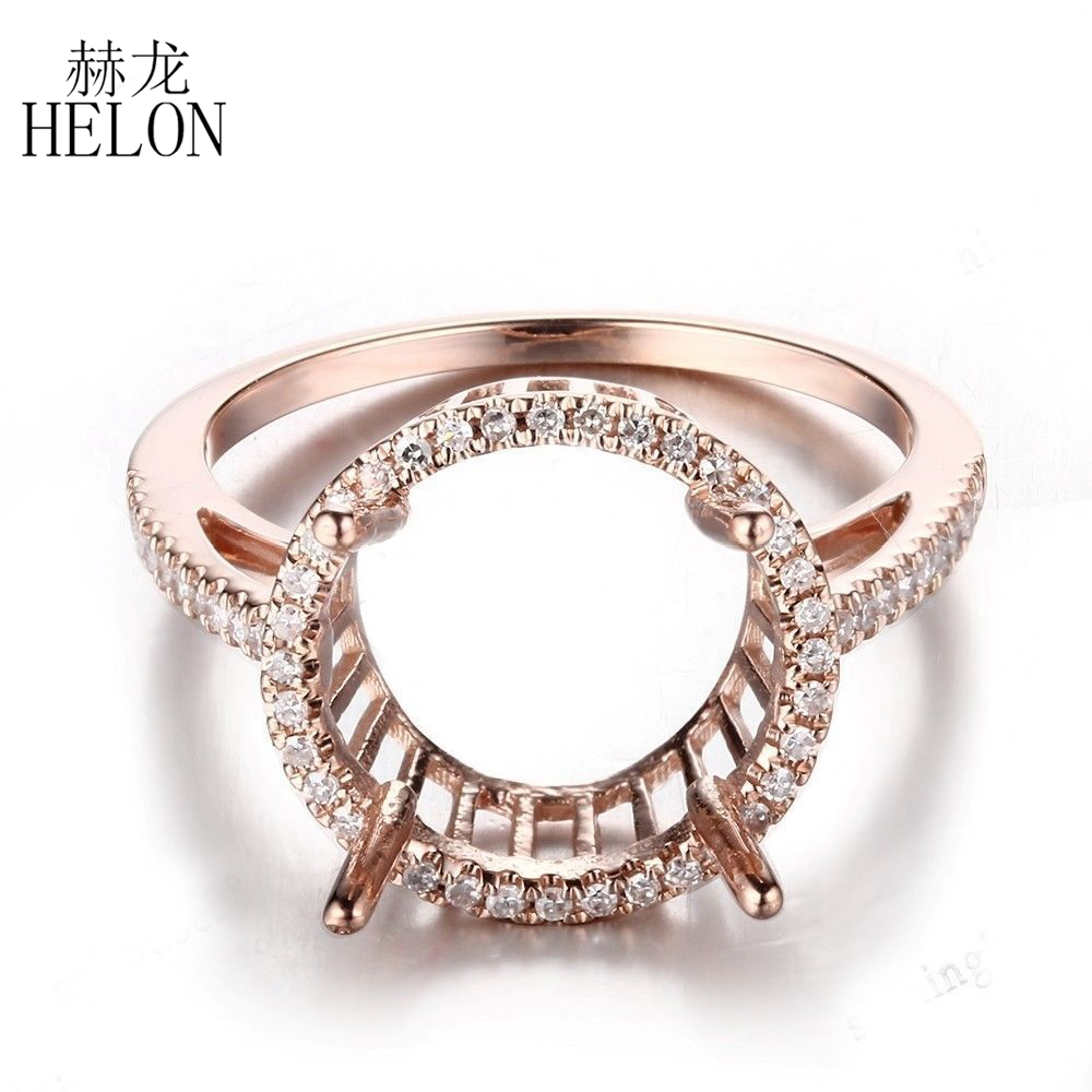 HELON Women Trendy Jewelry Solid 10k Rose Gold 11-12mm Round Genuine Natural Diamonds Semi Mount Engagement Wedding Halo RingHELON Women Trendy Jewelry Solid 10k Rose Gold 11-12mm Round Genuine Natural Diamonds Semi Mount Engagement Wedding Halo Ring
