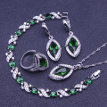 Green Created Emerald White Topaz 925 Sterling Silver Jewelry Sets For Women Earrings/Rings/Pendant/Necklace/Bracelet Free Box