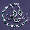 Verde Esmeralda Creado Topacio Blanco 925 Plata de La Joyería Para Las Mujeres Pendientes/Anillos/Pendiente/Collar/pulsera de Caja Libre