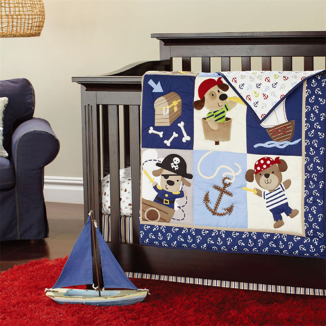 Moonpalace Baby Boy Crib Bedding Set 3D Embroidery Pirates Of the Caribbean Quilt Bumper Bed Skirt Fitted 4Pcs Set Fitted Sheet