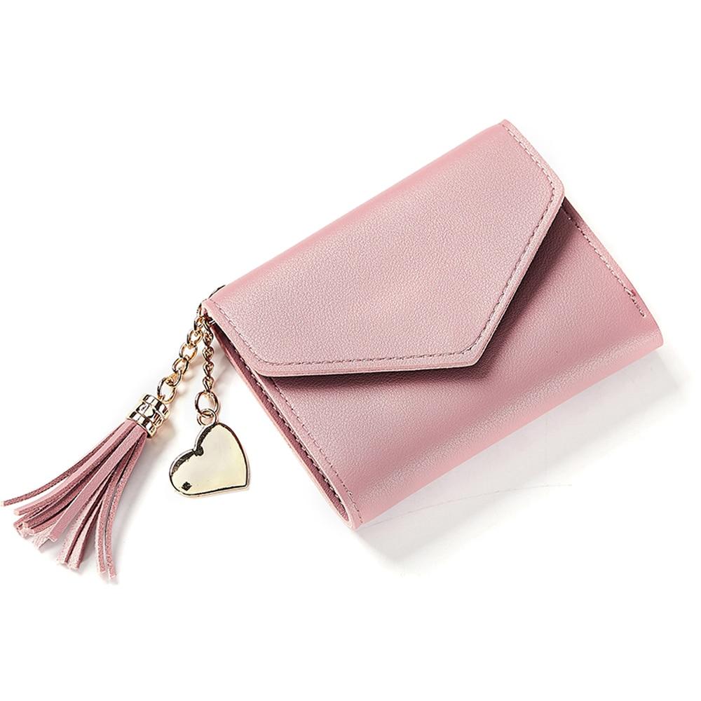 4 цвета PU складной кошелек короткие модные сумки банковская карта кошелек для покупок монета - Цвет: light pink