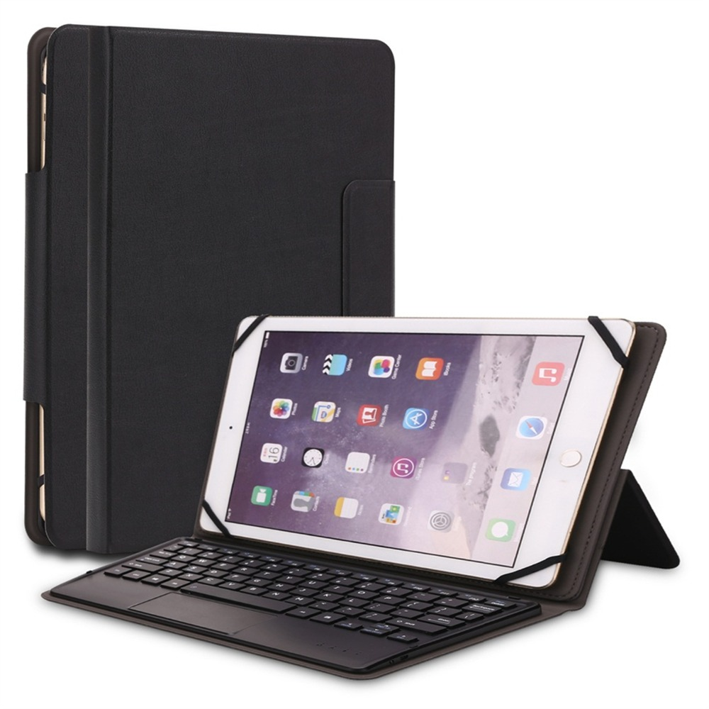 Kemile Universal 9 9.6 9.7 10 10.1 inch Tablet For IOS Android Windows Bluetooth Touchpad Keyboard With Leather Case Stand Cover bluetooth keyboard touchpad russian language english pu case cover universal 9 10 tablet pc for android windows ios
