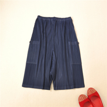 MIYAKE PLEATS Pocket Low Crotch Hallen Pants Female Folded Broad-legged free shipping