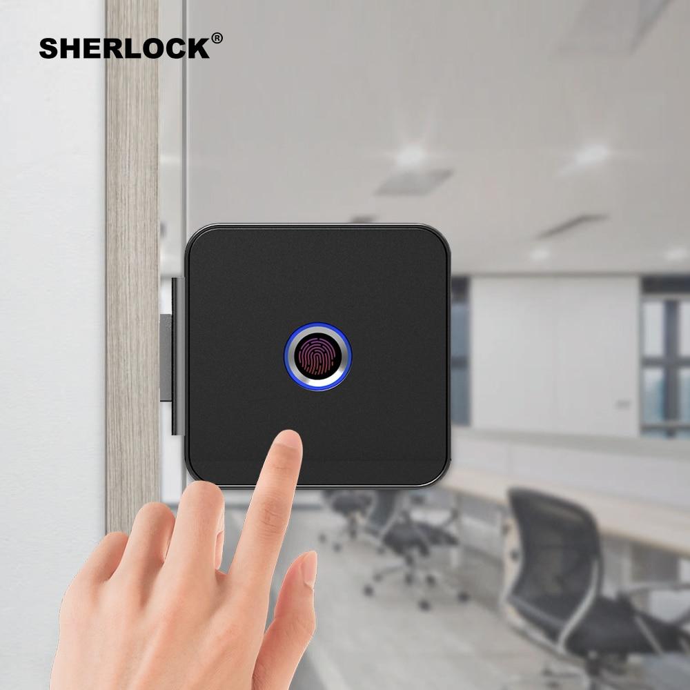Шерлок Smart Lock Стекло замок двери офиса Keyless Отпечатков пальцев проверки с Bluetooth APP дистанционного Управление электронный замок F1