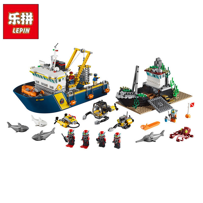 LEPIN 02012 Creative City Series Deepwater Exploration Vessel DIY Set Model Building Kits Blocks Bricks Children Toys Hobbies sermoido 02012 774pcs city series deep sea exploration vessel children educational building blocks bricks toys model gift 60095