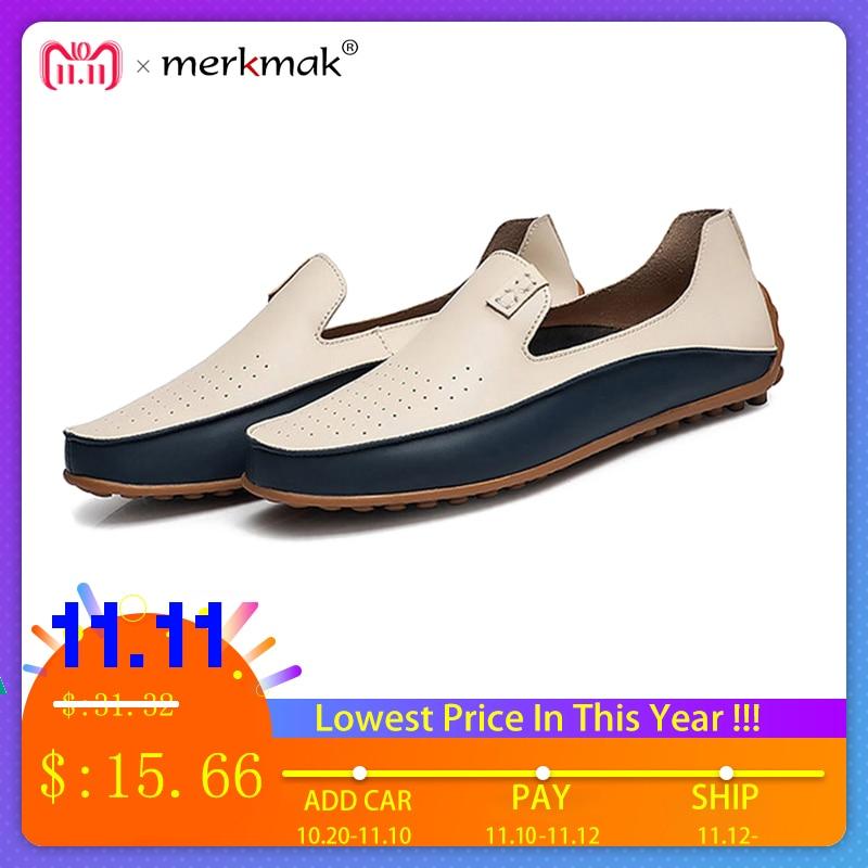 Merkmak Trendy Männer Casual Große Größe 38-47 Schuhe Marke Sommer Löcher Fahr Loafer Atmungs Mann Weiche Schuhe Schuhe großhandel
