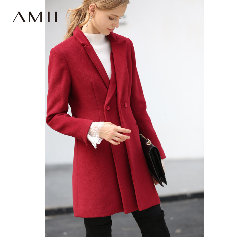 Amii Minimalist Women Woolen Jacket Autumn Winter 2019 Causal Solid Long Sleeve Fake Two Pieces New Year Red Wool Coat