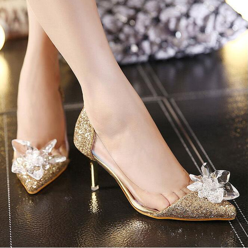 2016 New Spring Sexy Women Pumps Cinderella Shoes Pointed High Heels Female Silver Singles High heeled Wedding Bridal Shoes in Women 39 s Pumps from Shoes