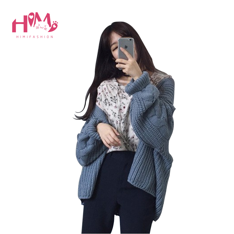 Korean Fashion Cardigan Women Thick Sweater New Autumn Winter Loose Open Stitch Casual Solid Color Warm