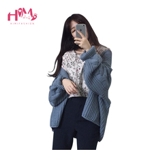 Korean Fashion Cardigan Women Thick Sweater New Autumn Winter Loose Open Stitch Casual Solid Color Warm Cardigans Coat For Women