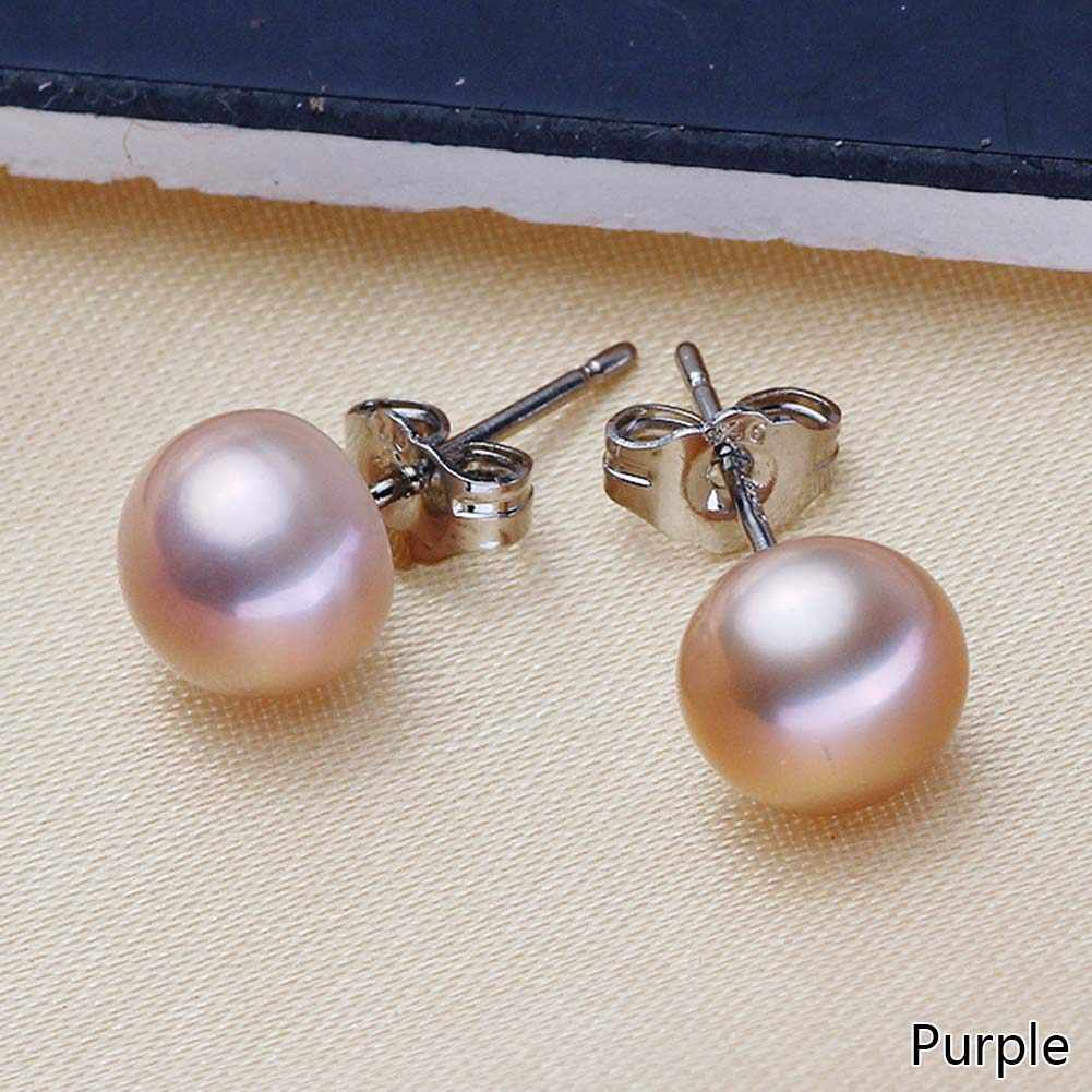 Real Freshwater Pearl Silver Earrings 7mm 8mmn Natural Pearl Earrings For Women Fasion Jewellery White Pink Purple