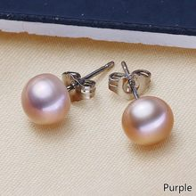 Real Freshwater Pearl Silver Earrings 7mm 8mmn Natural Pearl Earrings For Women Fasion Jewellery White Pink Purple(China)