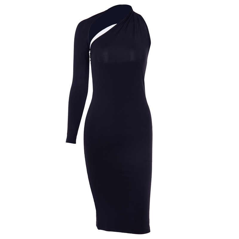InstaHot אחת כתף ברך אורך שמלת נשים סתיו שחור סקופ חזרה אחת כתף שמלות אלגנטי נשי סקסי מועדון Slim סקיני