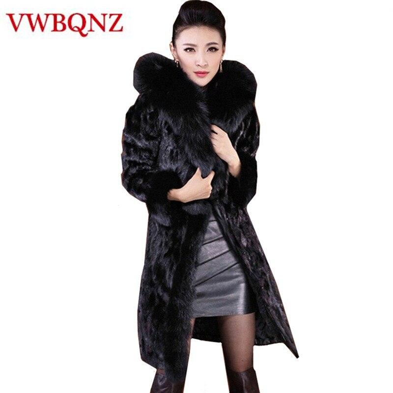 5ecb8be50cf2c Manteau Survêtement Veste Femelle Femmes Fourrure Taille Capuche 6xl Avec  D hiver Col Conception Chaud Black ...