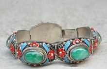 China's Tibet dynasty palace cloisonne silver inlaid jade bracelet, too/2 free shipping 8 chinese tibet silver cloisonne mosaic natural flower exquisite bracelet 5 24