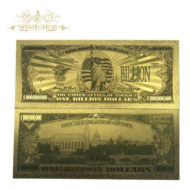 Wishonor Colored American Dollar Banknotes Bill Note One Billion Banknotes In 24k Gold Plated Wonderful Craft For Collection