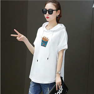 Image 4 - T shirt female 2020 new  hooded loose summer casual red white  short sleeved large size  women fashion printing t shirt  Cotton